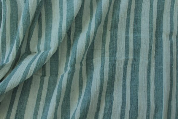 Natural White - Mint Green Stripes Organic Handwoven Pure Cotton Fabric