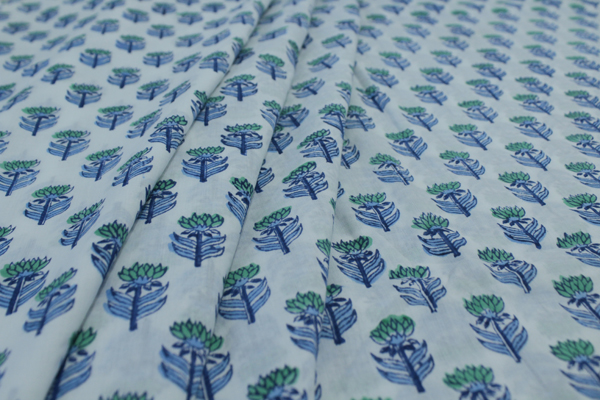White and Blue Floral Pure Soft Cotton HandBlock Printed Fabric